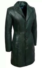 Ladies Brown Trench 3457 Classic Knee-Length Awesome 100% Leather Jacket Coat