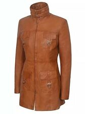 Ladies Rockstar Tan Gothic Body fitting soft Real Lambskin Leather Jacket Coat