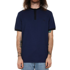 Fred Perry Henley Collar Pique Polo Shirt - Rich Navy