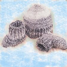 HAND CROCHETED GREY BABY BOY BOOTIES, HAT OR MITTENS shower gift shoes new mitts