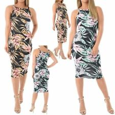 New Floral Leaf Print Sleeveless Strappy Women's Summer Midi Dress 8-22