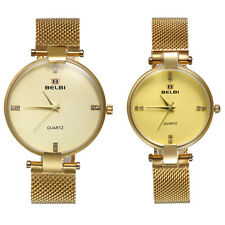 Fashion Womens Mens Watches Stainless Steel Couple Quartz Analog Wrist Watch