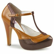 Pin Up Couture BETTIE-29 T-Strap Pump Dark Brown-Maple Faux Leather