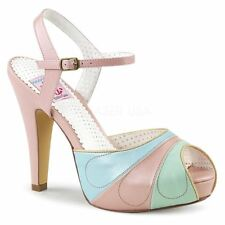 Pin Up Couture BETTIE-27 Peep Toe Sandal Pink Multi Faux Leather