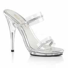 Fabulicious by Pleaser POISE-502R Platform Two Band Slide Women's Clear/Clear