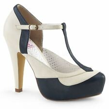 Pin Up Couture BETTIE-29 T-Strap Pump Navy Blue-Cream Faux Leather
