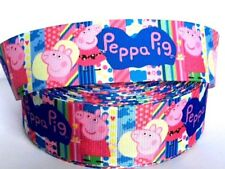 "38mm (1.5"") wide PEPPA PIG BRIGHT STRIPES Kids Grosgrain Ribbon Cake Bows 1M UK"