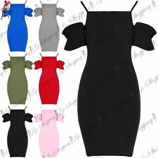Womens Ladies Bodycon Ruffle Sleeve Cold Shoulder Square Neck Strappy Mini Dress