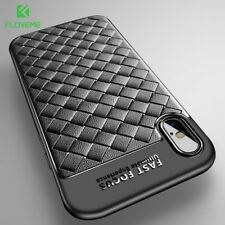 Luxury Woven Grid PU Soft Leather Slim Phone Case Cover For Apple iPhone X 8 7 6