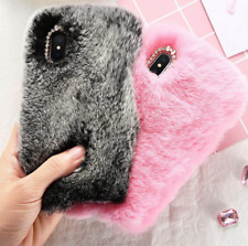 Girly Cute Rabbit Fur Bling Diamond Back Cover Winter Case For iPhone X 8 7 6 5