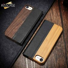 Bamboo Real Natural Wood Leather Flip Kickstand Phone Case For iPhone X 8 7 6 S7