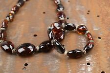 Baltic Amber necklace and bracelet set Natural dark cherry color 19 inch