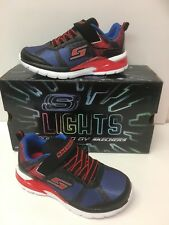 """Skechers Boys Erupters II """"Lava Wave"""" in Blue,Black, Red With Flashing Lights"""