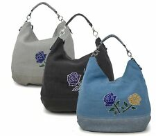 WOMENS LADIES TOP HANDLE SLOUCH CANVAS ROSE EMBROIDERY TOTE FASHION HANDBAG