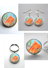 Goldfish Art Gifts Earrings Ring Brooch Keyring