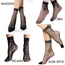 1x 2x Pair Woman Lace Ankle High Socks Sheer Durable Fishnet Everyday  with bow
