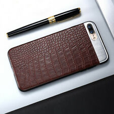Metal + Leather Crocodile Snake Texture Back Phone Case Cover For iPhone 6 7