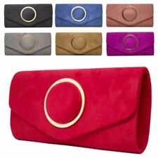 New Central Ring Decoration Faux Suede Women's Party Clutch Bag Purse