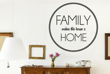 Family Makes This House Home Circle Muraux Vinyle Décor Pochoirs Murals
