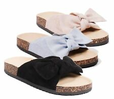 LADIES SUMMER SLIP ON CORK WEDGE FOOTBED COMFORTABLE MULE SANDALS SLIPPERS 3-8