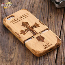 100% Natural Wood Engraved Wolf Cross Bamboo Phone Case Cover For iPhone Samsung