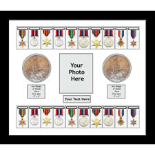 Medal Frame 20X World War Military Medals & Memorial Plaque - White Mount