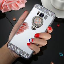 Luxury Bling Glitter Mirror Rhinestone Ring Finger Phone Case Cover For Samsung
