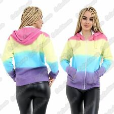 New Ladies Rainbow Tie Dye Long Sleeve Hooded Front Zip Up Jumper Sweatshirt Top