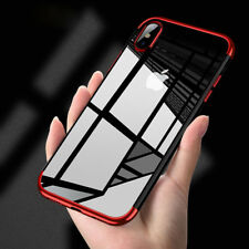 Slim Plated Frame Super Clear Transparent Phone Case Cover For iPhone X 8 7 6