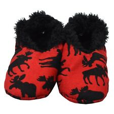 LazyOne Unisex Classic Moose Red Fuzzy Feet Slippers Adult