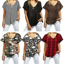 Women New Ladies Printed V Neck Turn Up Short Sleeve Loose Baggy Fit Top Shirt