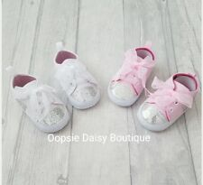☆ Baby Girls Gorgeous Sparkly Teddy Bear Ribbon Trainers Pram Shoes ☆