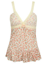 Women's Floral Lace Cami Vest Top Ladies Spaghetti Strap Swing Tops 8-16