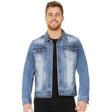 Mens Casual Blue Faded Stretch Denim Jacket Jeans Jacket Sizes S M L XL XXL