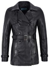 Ladies 1123 Black Trench Classic Mid Length Real Leather Stylish Jacket Coat