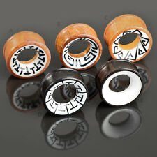 6-30mm Flesh Tunnel PLUG Madera Tribal INLAY Piercing Oreja Joyas Naturales