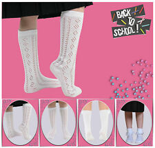 3 pares para niñas, color blanco con Volantes Bordado Top DE ENCAJE