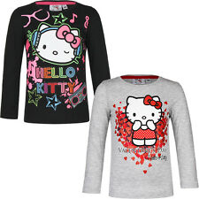 NEUF MAILLOT MANCHES LONGUES FILLE Pull Hello Kitty gris noir 98 104 116 128 #97