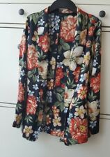 ZARA Multicoloured  FLORAL PRINT TUXEDO BELTED BLAZER JACKET  BNWT SIZES S&M