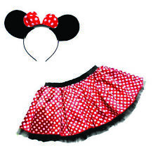 CARTOON MOUSE RED & WHITE POLKA DOT TUTU & HEADBAND WITH BOW / EARS CHILDS/ADULT