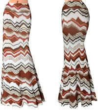 Gonna Lunga Donna Maxi Fantasia Marrone Woman Maxi Brown 70's Skirt 130059 P