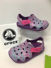Crocs Swiftwater Wave Graphic Clog In Purple with Pink