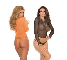 Black or Neon Orange Fishnet Long Sleeve Top & G-String Set, 80's, Rave, Punk