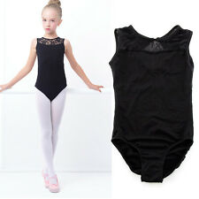 8-15 Aged Kids Gymnastics Slim Bodysuit Ballet Dance Black Leotard Lace Dress
