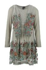 STELLA MORGAN LONG SLEEVE DUAL LAYERED ROUND NECK FLORAL EMBROIDERED MESH DRESS