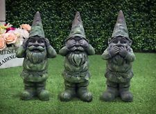 Gnome Garden Ornament Statue Figure Outdoor See Hear Speak No Evil Characters
