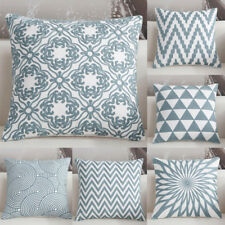 Fashion Fresh Blue Geometric Pattern Cushion Cover Office Home Pillow Case FN257