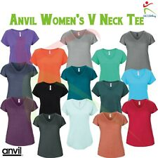 ANVIL Womens Triblend V-Neck Scoop Tee Ladies Cap Sleeved T Fashion T-Shirt TOP