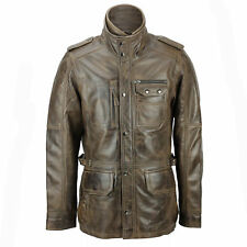 XPOSED Mens Real Leather Vintage Smart Casual Brown Military Style Field Jacket