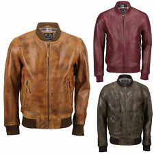 New Mens Soft Real Leather Bomber Jacket Vintage Biker Style in Black Rust Brown